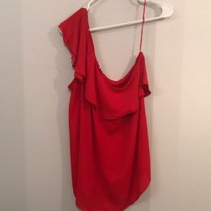 Violet + Claire red one sleeve blouse